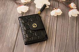 Шкіряний жіночий гаманець Gucci / Жіночий клатч з натуральної шкіри, колір чорний