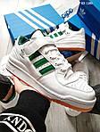 Мужские кроссовки Adidas Forum Mid (бело/зеленые), фото 5