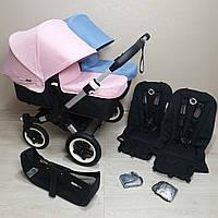 Детская коляска для двойни Bugaboo Donkey Twin Soft Pink&Ice Blue Бугабу