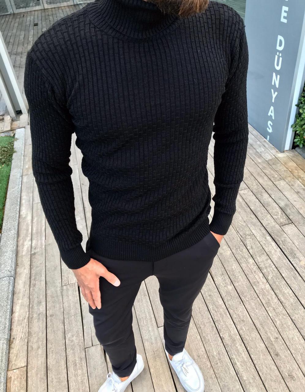 😜 Гольф - Чоловічий чорний гольф (вовна + бавовна)