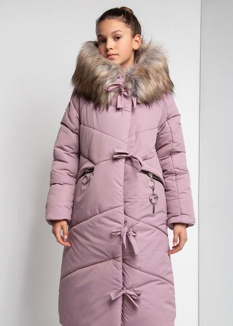 Детский зимний пуховик для девочки на флисе, удлиненный  №12    140-158р.