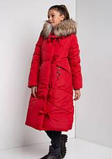 Детский зимний пуховик для девочки на флисе, удлиненный  №12    140-158р., фото 3