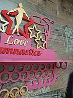 Медальница гимнастика с полкой с покраской