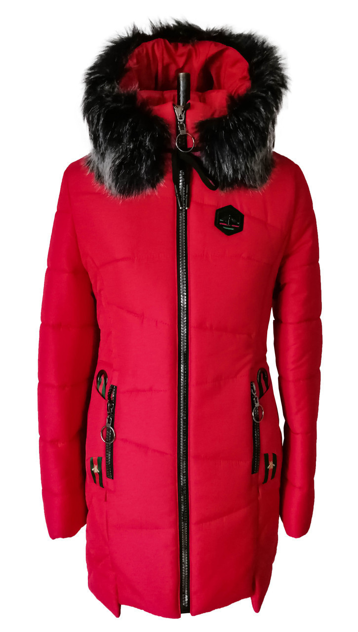 Женская зимняя куртка парка молодежная 42-52  красный