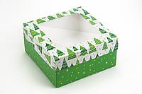 "Коробка ""Киев"" М0053-о18 принт ёлки, размер: 200*200*100 мм"