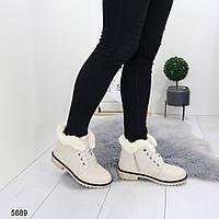 Женские бежевые зимние  ботинки на низком каблуке, А 5889, фото 1