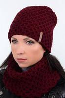 Стильный женский комплект -вязаная шапка, утепленная флисом и шарф хомут MILAN, фото 1