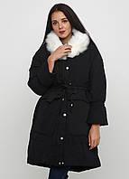 Куртка зимняя женская черная, длинный пуховик СС-8512-10