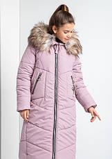 Детский зимний пуховик для девочки на флисе, удлиненный №20 |  140-158р., фото 3
