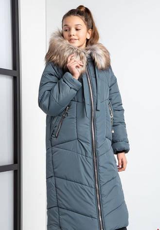 Детский зимний пуховик для девочки на флисе, удлиненный №20 |  140-158р., фото 2