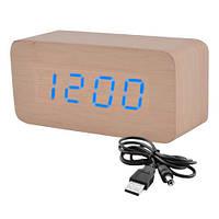 Настольные часы черный деревянный брусок - время, температура