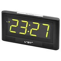 Электронные настольные сетевые часы зеленый циферблат