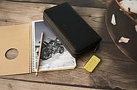 Кожаный клатч Hugo Boss на 2 змейки / Мужской клатч из натуральной гладкой кожи