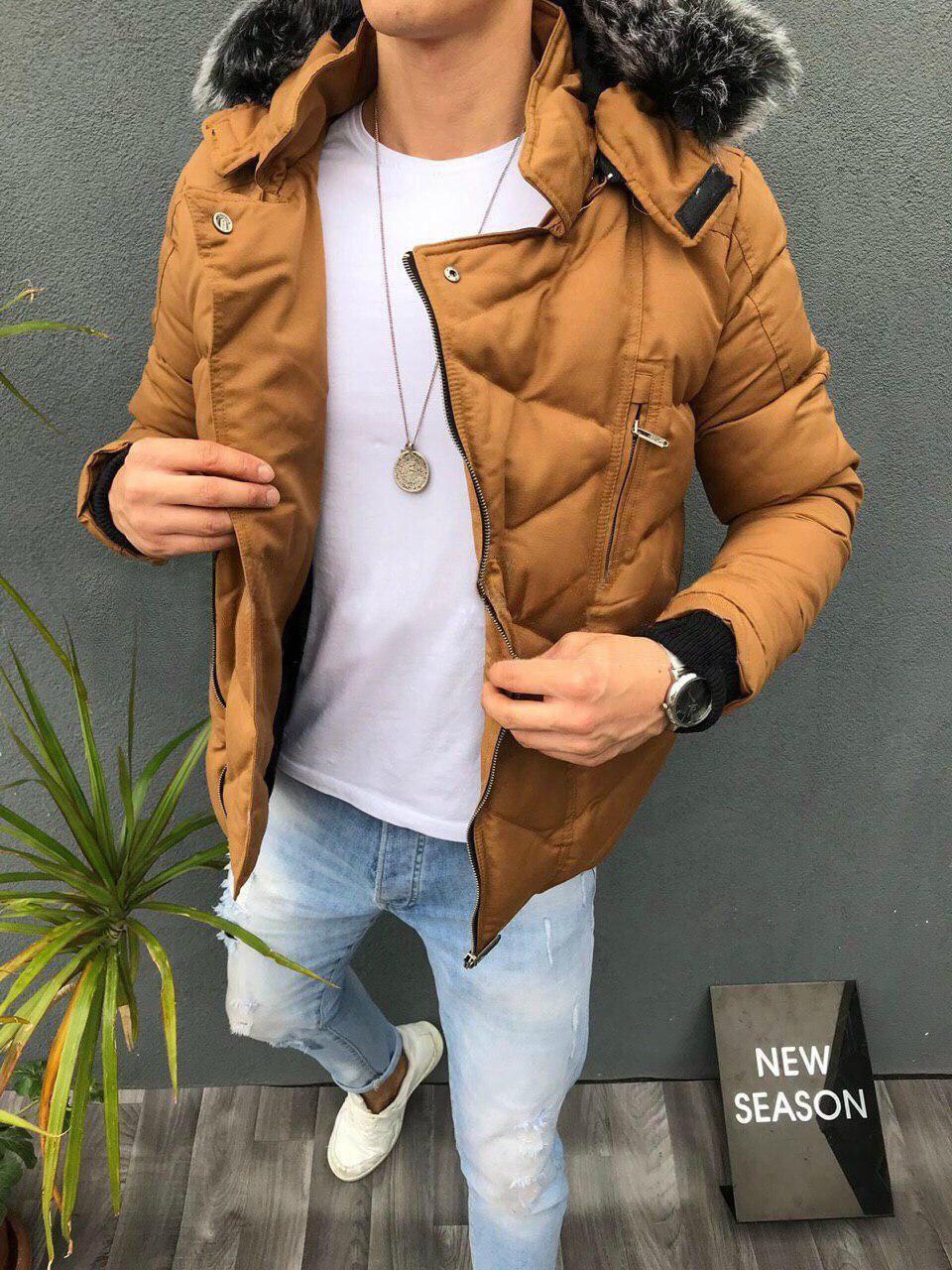 😜 Куртка - мужская зимняя куртка горчичного цвета с пушистым капюшоном