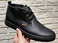 Braxton ботинки мужские зимние с мехом, чёрные, размеры 40-45