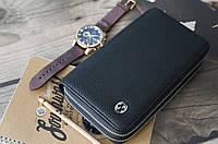 Кожаный клатч Gucci на 2 змейки / Мужской клатч из натуральной кожи