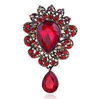 Брошь 7,2*4,3см веер с подвеской и красными кристаллами Рубин, фото 1