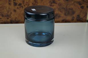 Синя велика скляна посудина для зберігання сипучих продуктів
