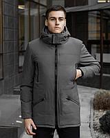 Мужская зимняя серая куртка парка с капюшоном Pobedov CS 1.6