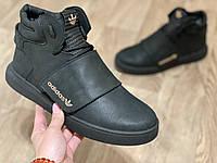 Adidas tubular кроссовки мужские зимние с мехом чёрные, натуральный нубук, размеры 40-45