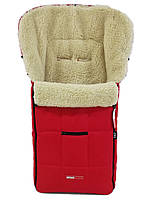 Зимний конверт чехол в коляску Z&D Zdrowe Dziecko (Польша) теплый на овчине красный для коляски на санки з