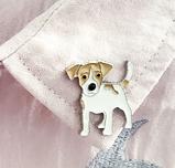 Брошь брошка значок джек рассел терьер пес собака металл эмаль значок кнопка, фото 2