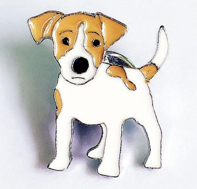 Брошь брошка значок джек рассел терьер пес собака металл эмаль значок кнопка