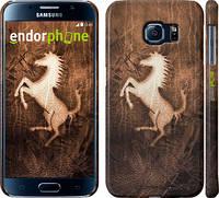 "Чехол на Samsung Galaxy S6 G920 Логотип Феррари на коже ""133c-80"""