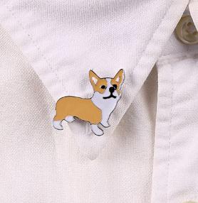 Брошка брошка значок пін пес собака метал емаль Вельш-коргі коргі біло-рудий