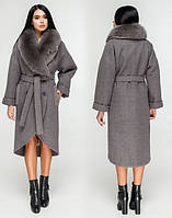 Женское зимнее пальто с натуральным мехом 44-54 р серо- фиолетовый