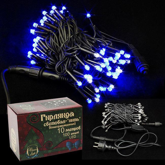Гирлянда уличная нить 10 метров, 100 диодов PREMIUM String IP65, цвет голубой