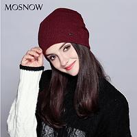 Женская вязаная шапка бини: Красный цвет