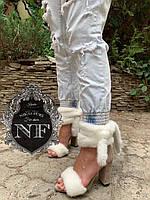 Туфли на каблуке с мехом норки