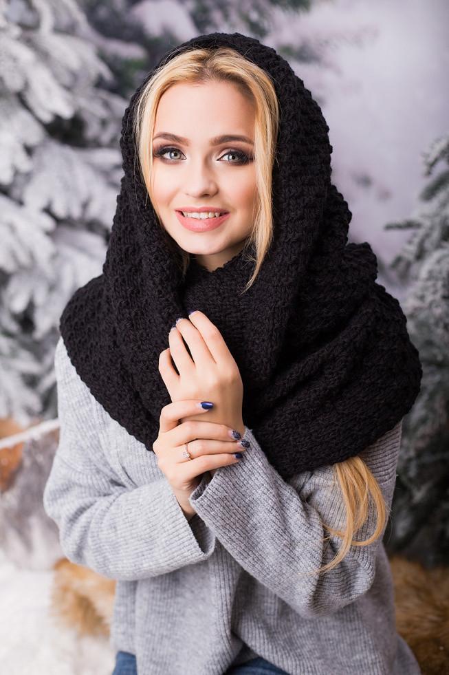 Зимовий чорний в'язаний хомут/снуд/шарф Licato