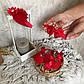 """Красивые пинетки """"Ажур"""", красные 0-6 мес (9.5 см). с нарядным бантиком., фото 3"""