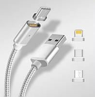 Магнітний кабель RIAS K-121 USB-microUSB + Lightning + Type-C Gray (4_1044219260), фото 1