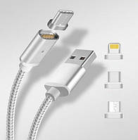 Магнитный кабель RIAS K-121 USB-microUSB + Lightning + Type-C Gray (4_1044219260)