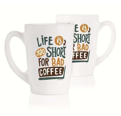 New Morning Life Is Short набор чашек 2*320 мл Luminarc P5145