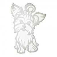 Украшение Собака Йорк пластик 12х9см (белый)