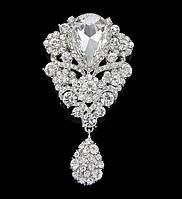Брошь 9,7*5,3см лилия с подвеской Crystal (кристалл прозрачная)