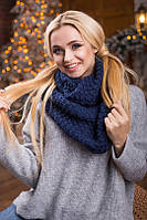 В'язаний жіночий хомут/снуд/шарф Ricato, темно-синій