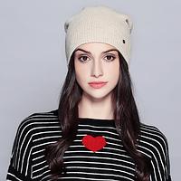 Женская вязаная шапка бини: Бежевый цвет