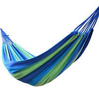 Мексиканский гамак хлопок UKC 240x80 см + чехол Сине-зеленый