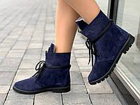 Ботинки женские зимние замшевые черные на шнурках (Код: 1642а), фото 1