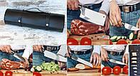 """Подарочный набор шеф-повару """"Шеф-7 айронвуд"""", комплект кухонных ножей ручной работы в кожаной скрутке, N690"""