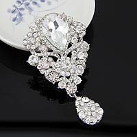 Брошь 9,7*5,3см лилия с подвеской Crystal (кристалл прозрачная), фото 1