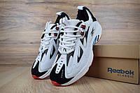 Мужские кроссовки в стиле Reebok DMX, сетка, кожа, пена, черные с белым 43 (27,5 см)