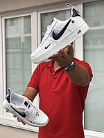 Мужские кроссовки в стиле Nike Air Force 1, кожа, белые с черным 42 (27 см)
