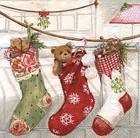 Салфетки декупажные Рождественские носки с подарками 4924