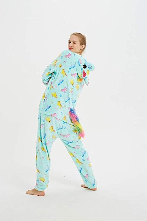 Пижама кигуруми единорог мятный с рисунком kig0121